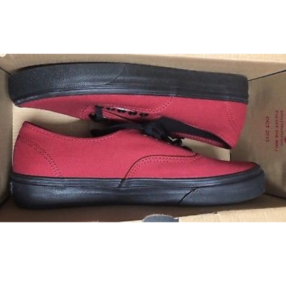 4a93d02f5f2 Vans Authentic Black Sole Jester Red Outsole Shoes